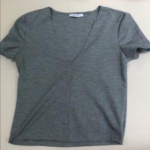 Zara Grey Deep V Short sleeve